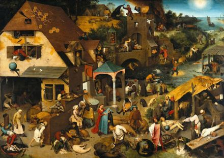 Bruegel the Elder, Pieter: Dutch Proverbs. Fine Art Print/Poster. Sizes: A4/A3/A2/A1 (00413)